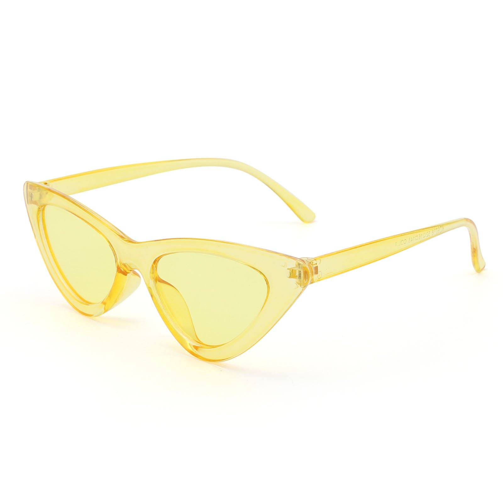 Livhò Retro Vintage Narrow Cat Eye Sunglasses for Women Clout Goggles Plastic Frame (Clear yellow/yellow)