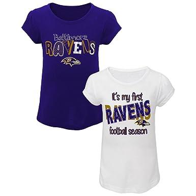 61428511 NFL Toddler Girls' 2-Pack Graphic T-Shirts - Baltimore Ravens, Purple/White