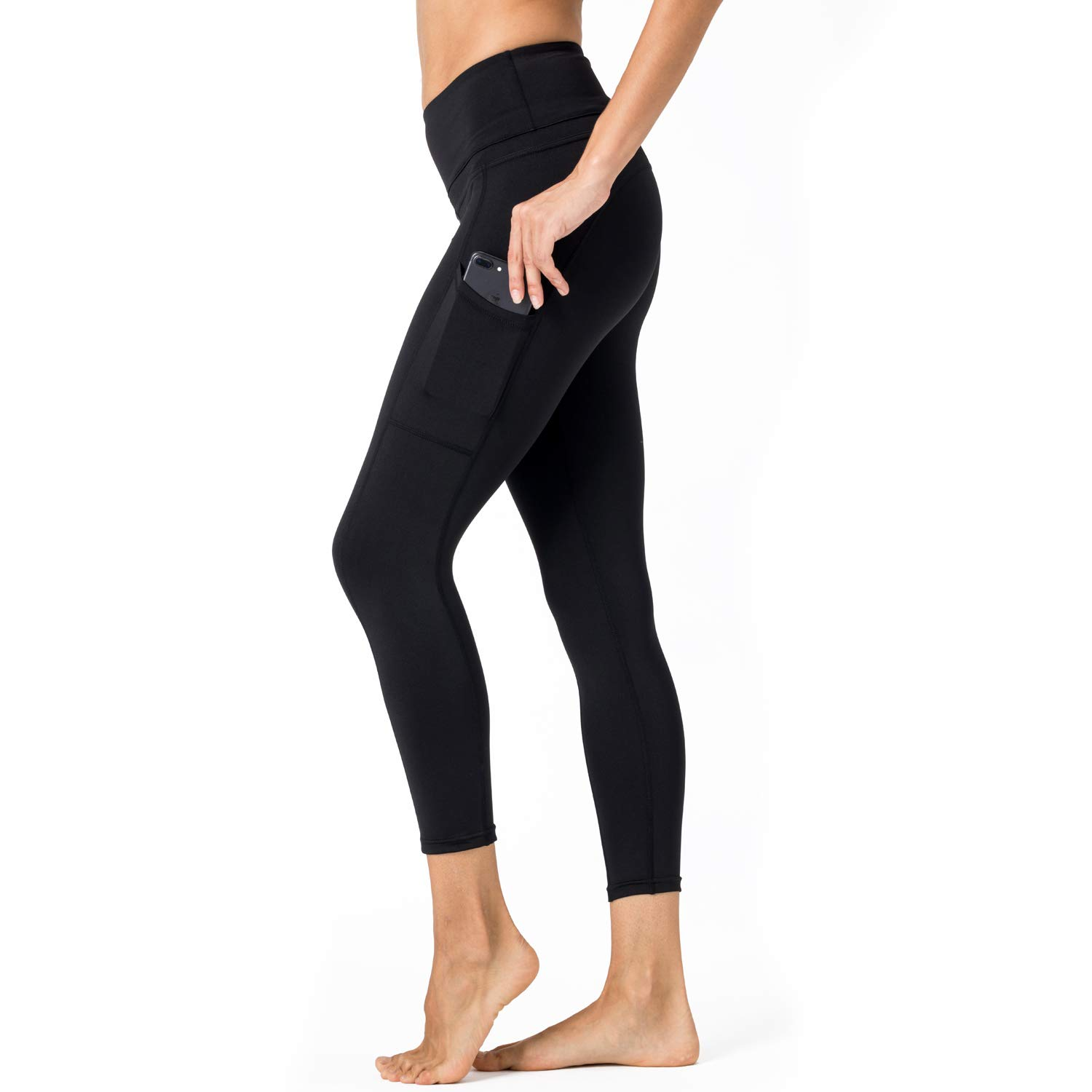 mettime US Womens Fashions High Waist Elastic Phone Pocket Skinny Solid Color Cropped Pants Running Trousers (Black, L)
