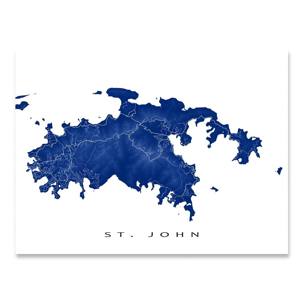 photograph about Printable Map of Caribbean Islands named St John Map Artwork Print, US Virgin Islands, USVI, Caribbean Island Art