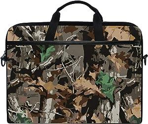 JOYPRINT Laptop Sleeve Case, Camo Tree Leaves Pattern 14-14.5 inch Briefcase Messenger Notebook Computer Bag with Shoulder Strap Handle for Men Women Boy Girls