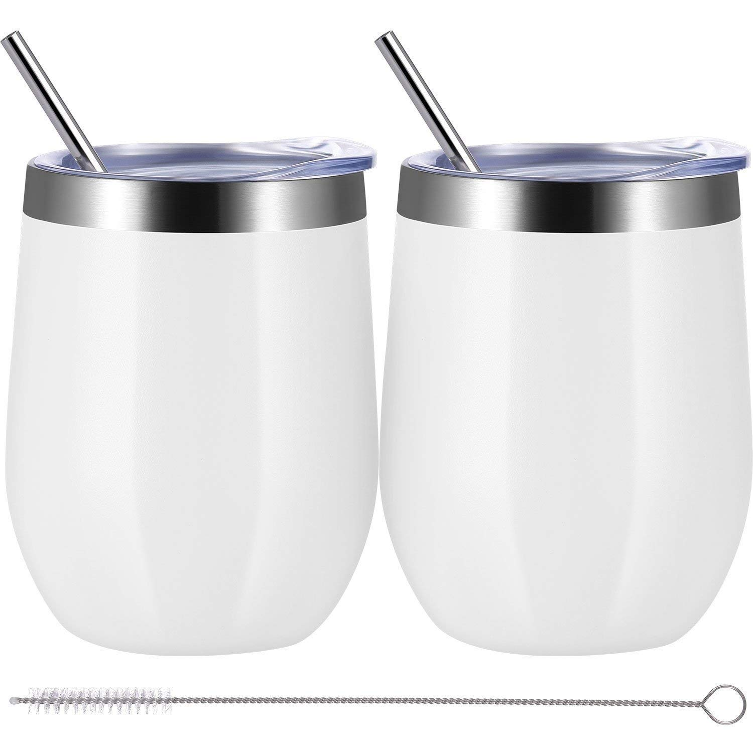Adubor Coffee Tumbler Insulated wine Glass 12oz Stainless Steel Double Wall Vacuum Insulated Tumbler Cup with Lids, Drink-Ware Glasses for Wine Bright White, 2 Pack by Adubor
