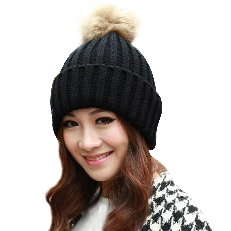 Andy's Share Winter Geflochtene Gehäkelte Wolle Stricken Mütze Sackartige Warm Hut für Damen