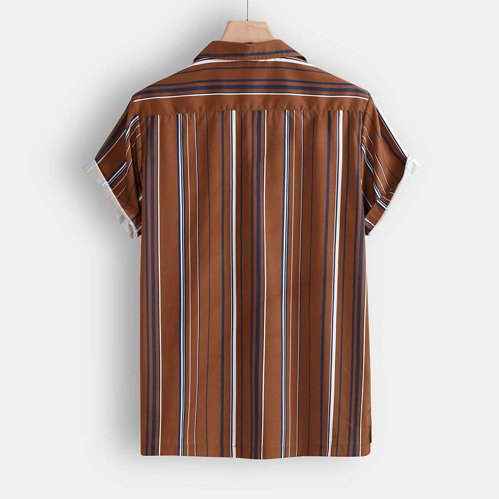 Sunnywill Fashion Mens Button Hawaii Striped Print Beach Short Sleeve Top Blouse Athletic Garments Casual Clothes