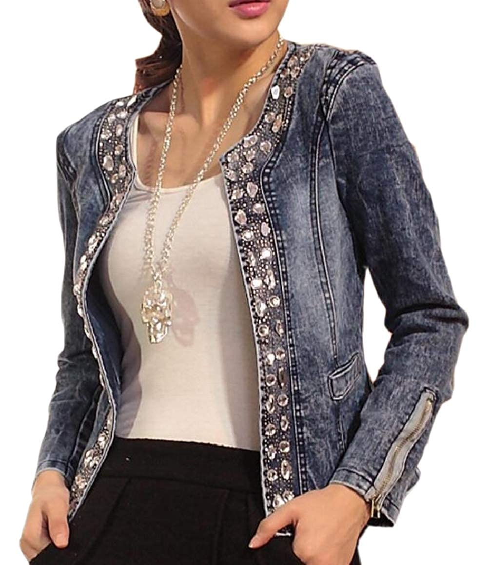 RG-CA Womens Plus-Size Rhinestone Slim Denim Jacket Long-Sleeves Coat