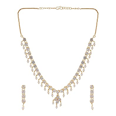 cc944dff68c Efulgenz Stylish Gold Plated American Diamond CZ Solitaire Simple Delicate  Necklace Earrings Jewellery Set for Women