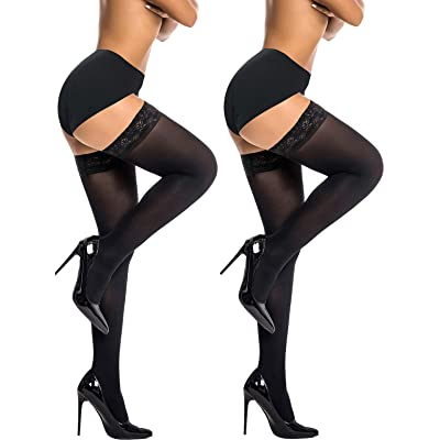 Semi Sheer Stay Up Lingerie Thigh High Stockings Lace Top Size A-D of HONENNA at Women's Clothing store