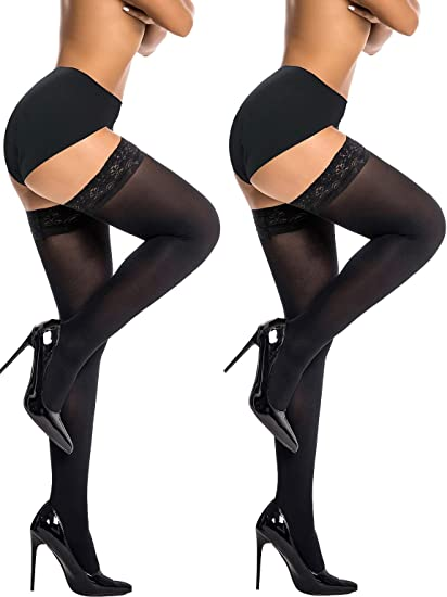 HONENNA Sheer Silky Thigh High Stay Up Silicone Lace Top Stockings