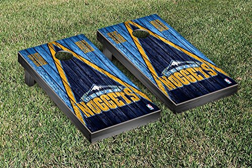 Denver Den Nuggets NBA Basketball Regulation Cornhole Game Set Triangle Weathered Version by Victory Tailgate