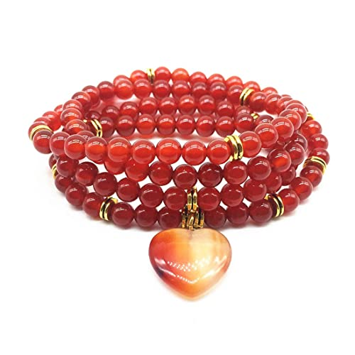 QYLSHL Sweet Bracelet Women Yoga Necklace Real Natural Stone Carnelian 6 mm Beaded Jewelry Girls Gifts