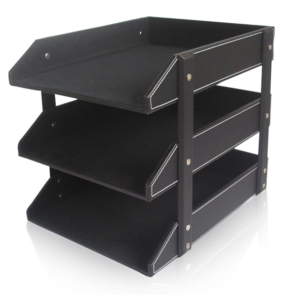 KINGFOM Letter Tray, Leather Paper Organizer Tray, Wooden Desk File Holder, Desktop File, Stackable Magazine Holder, Mail Sorter, Great for Home or Office - 3 Level Black