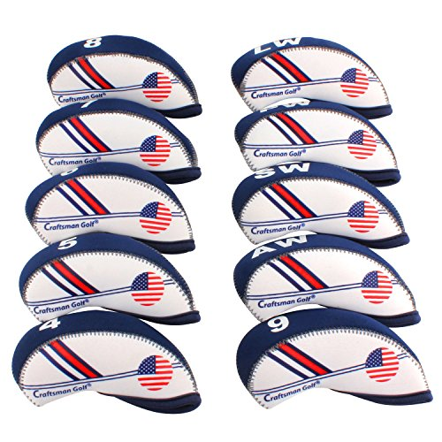 Craftsman Golf White & Blue US Flag Neoprene Golf Club Head Cover Wedge Iron Protective Headcover for Titleist, Callaway, Ping, Taylormade, Cobra, Nike, Etc. (Best Cheap Irons Golf)