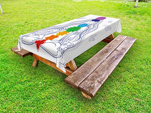 Ambesonne Chakra Outdoor Tablecloth, Spiritual Girl in Lotus with Colorful Chakra Stones Yoga Meditation Relax Zen Theme, Decorative Washable Picnic Table Cloth, 58 X 84 inches, Multicolor by Ambesonne