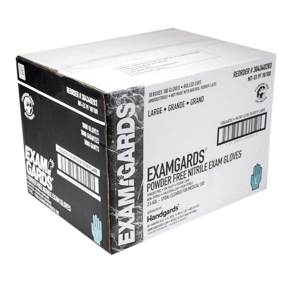 ExamGards Black Large Nitrile Disposable Gloves -- 1000 per case. by HANDGARDS