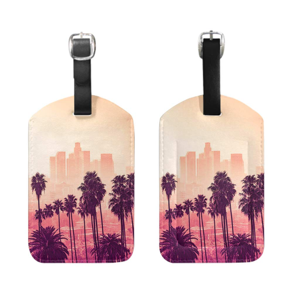 bescribe leather name ID tag with privacy cover Los Gigantes coast Tenerife Spain-2-Piece Stylish Patterned Private Luggage Tag