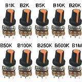 MCIGICM 500k 5k 100k 50k 10k potentiometer knob linear potentiometer WH148 3Pin 15mm Shaft With Nut And Washe