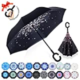 : ZOMAKE Double Layer Inverted Umbrella Cars Reverse Umbrella, UV Protection Windproof Large Straight Umbrella for Car Rain Outdoor With C-Shaped Handle(Peach Blossom)