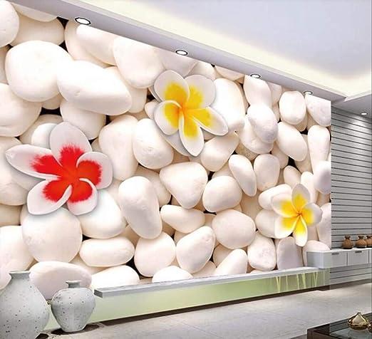 Mural Pared 3D, Tamaño Grande Piedras Blancas Flores De Color Rojo ...
