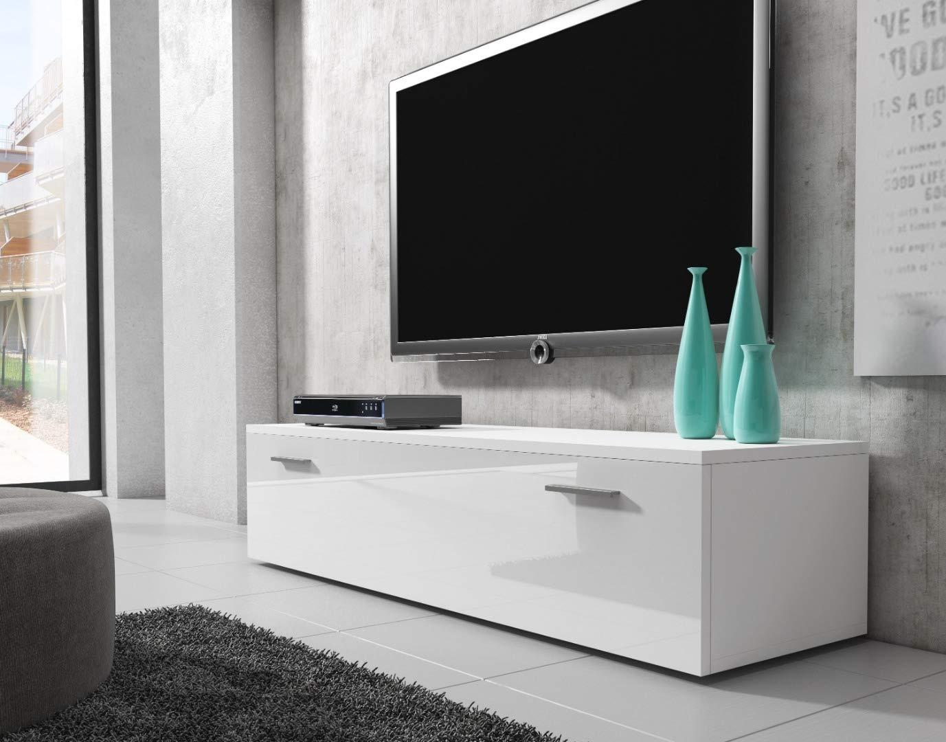 E-com TV Unit Cabinet Stand Boston Body Matte Black//Front Black High gloss 100 cm
