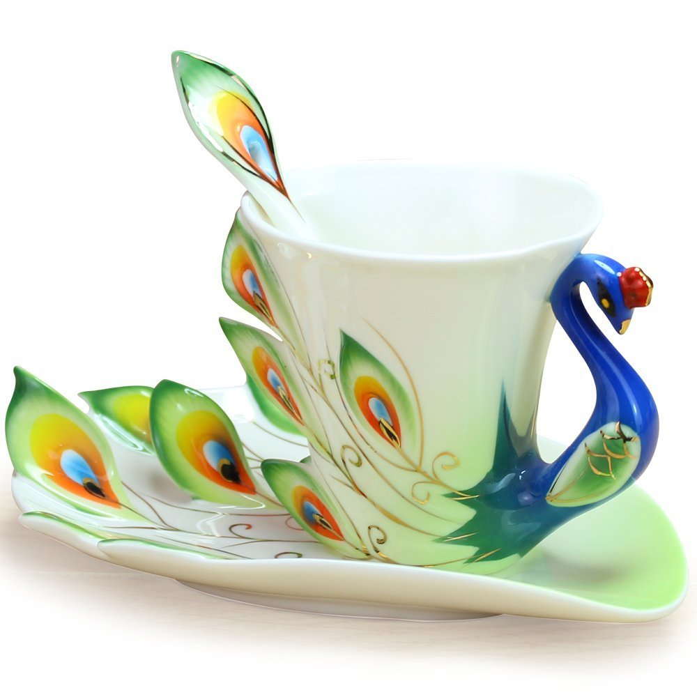 smart idea porcelain coffee mugs. Amazon com  DUSIEC Collectable Fine Arts China Porcelain Tea Cup and Saucer Coffee Peacock Theme Romantic Creative Present Green With
