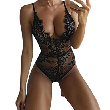 bce0fd1e49 Women Teddy Lingerie Sexy Lace V Neck One Piece Babydoll Mini Bodysuit  Seamless Firm Nightwear (