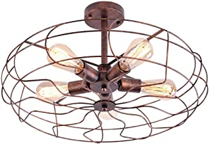 NIUYAO Vintage Industrial Fan Style Wrought Iron Semi Flush Mount Ceiling Pendant Light Chandelier Rustic Lighting Fixture with 5 Lights Rust Finish 450405