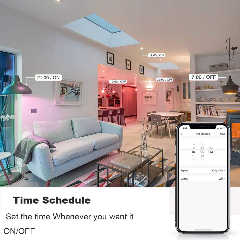 BR30 Led Smart WiFi Light Bulb Dimmable E26 Multicolor Flood Light Bulb 7W BR30 1pack RGBW Color Changing Led Flood Light No Hub Required,Compatible with Alexa and Google Home,60W Equivalent