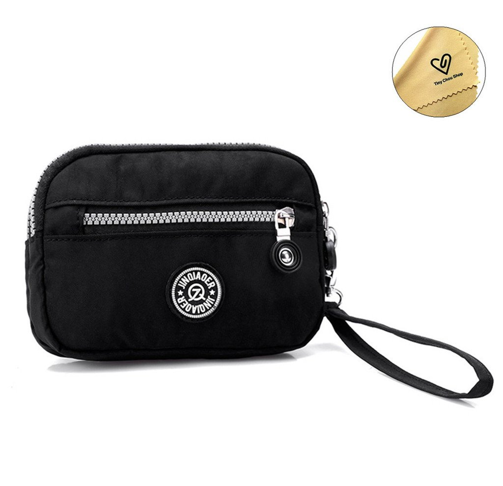 Tiny Chou Dual Layers Zipper Purse Waterproof Nylon Wristlet Bag Clutch Handbag Cell Phone Pouch-Black
