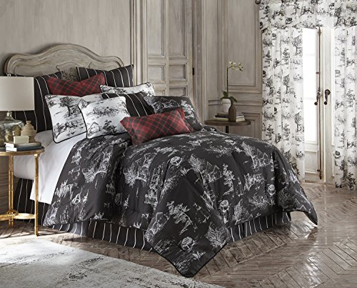 - Toile Back in Black Comforter Set - Black Background, White Print California King