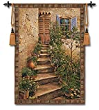 Fine Art Tapestries Tuscan Villa II Medium Wall Tapestry 3351-WH 43 inches wide by 53 inches long, 100% cotton