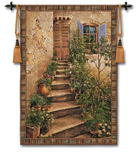 - Fine Art Tapestries Tuscan Villa II Medium Wall Tapestry 3351-WH 43 inches Wide by 53 inches Long, 100% Cotton