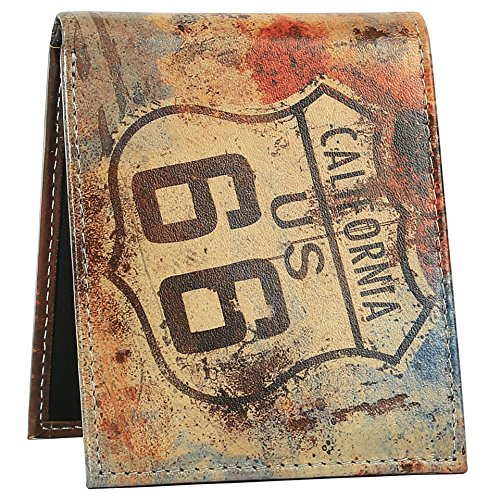 Men Stylish Unique 2 with Printed for Route Wallet Us Genuine Ca Leather 66 City Window Designs Bifold Angel Wallet ID 57SFqzwY