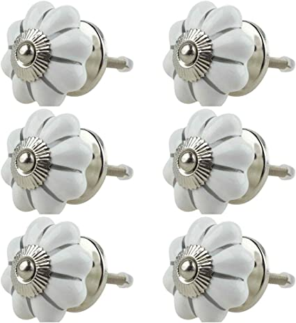 20 pièces gris /& blanc peint à la main en céramique Tirer Tiroir Boutons