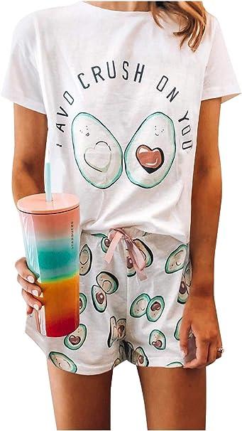 Landove Pijama Dos Piezas Manga Corta Camiseta y Pantalon Corto Mujer Verano: Amazon.es: Ropa y accesorios