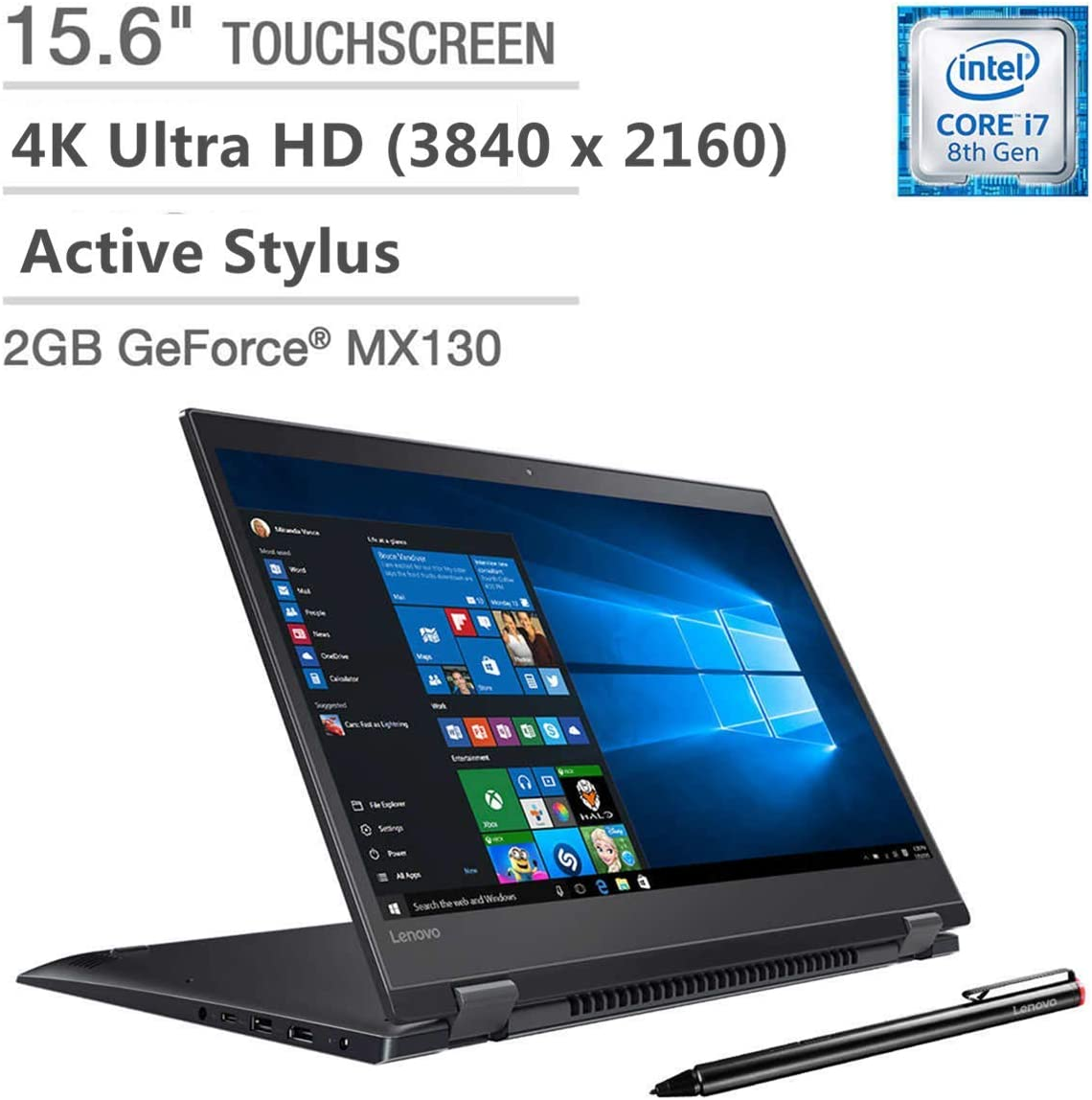 "2019 Lenovo Flex 5 15 2-in-1 15.6"" Touchscreen 4K Ultra HD Laptop Computer, 8th Gen Quad-Core i7-8550U up to 4.0GHz, 16GB DDR4, 1TB SSD, GeForce MX130 2GB, Active Stylus, Windows 10"