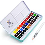 MeiLiang Watercolor Paint Set, 36 Vivid Colors in Pocket Box with Metal Ring and Bonus Watercolor Brush, Perfect for Students, Kids, Beginners & More