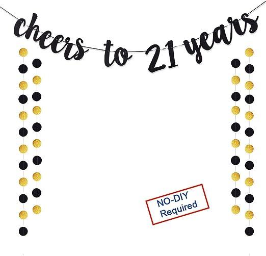 Amazon.com: Cartel con purpurina dorada de 21 años para ...