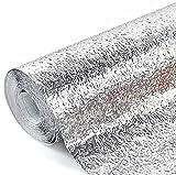 Kitchen Backsplash Wallpaper Stickers,Oil Proof Waterproof Sticker Aluminum Foil Kitchen Stove Cabinet Stickers Self Adhesive Wallpapers. (Orange Peel Texture Silvery, 24''×118''(60mm300mm))