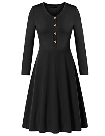 c2c42d322b Mavis Laven Black Skater Dress Long Sleeve V Neck for Women Wear to Work  Dress s