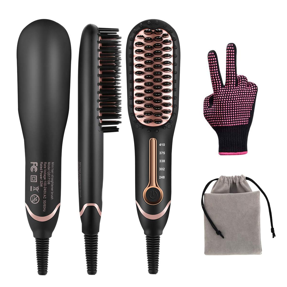 Hair Straightener Brush, Ionic Hair Straightening Brush with Fast MCH Ceramic Heating, Anti-Scald, Auto Temperature Lock and Auto-Off Function, Portable Straightening Comb 110-240V for Home and Travel