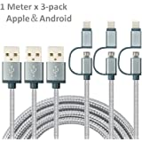 2-in-1 Braided Lightning and Micro USB Cable [3 Pack 3.3 ft] High Speed Sync and Charging Cable Lead Cord Compatible with iPhone7/7Plus/6splus/6s/6/5S/5/5c/se, iPod Nano 7, iPod Touch 5, Samsung, Huawei, LG, HTC and More (Silver)