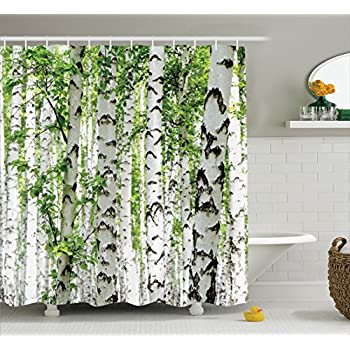 Kikkerland shower curtain polyester birch Nature inspired shower curtains
