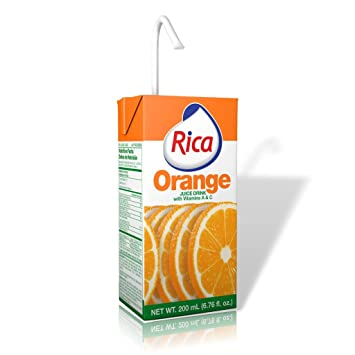 Rica Orange Juice Drink Jugo de Naranja 200 Ml (12 Pack)