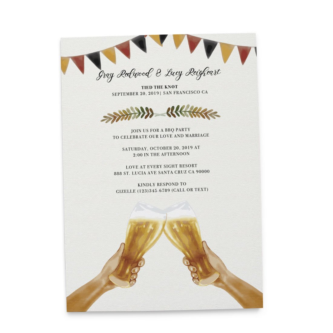 ''Tied the Knot'' Elopement Wedding Announcement Cards with Envelopes | Marriage Reception Invitation - We Eloped Party Invites - Custom, Personalized Card Stock - Country BBQ Theme Design - Set of 20