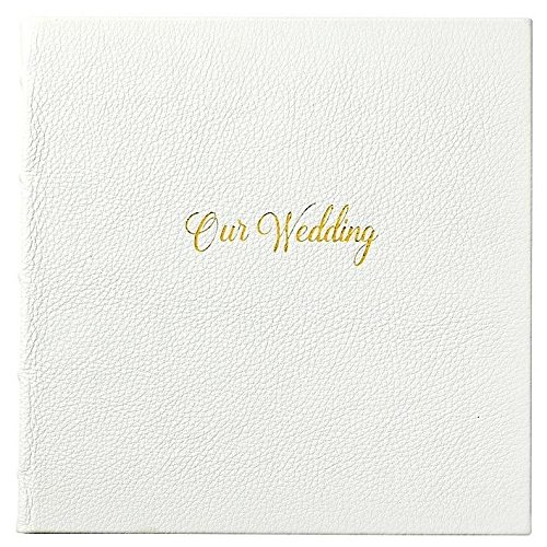 OUR WEDDING Journal White Full Grain Leather by Graphic Image™ - by Graphic Image