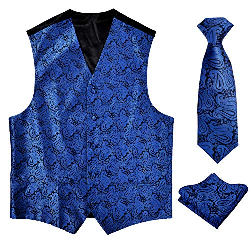 Alizeal Men's Classic Paisley Waistcoat Floral Necktie and Hanky Vest Suit Set, Royal Blue-2XL