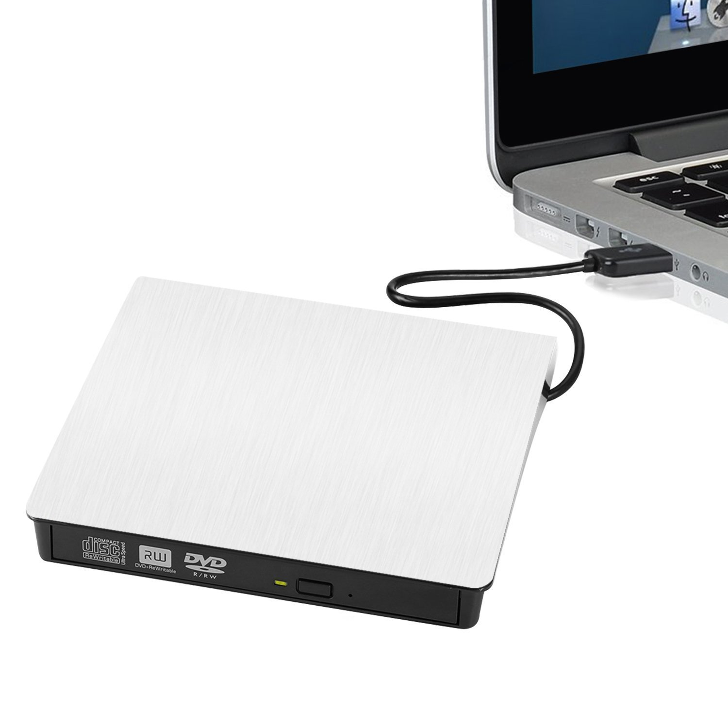 External DVD Writer, External USB 3.0 CD-RW/ DVD-RW Burner Writer External DVD Drive for Laptops Notebook Desktop PC (White) Portable Ultra Slim