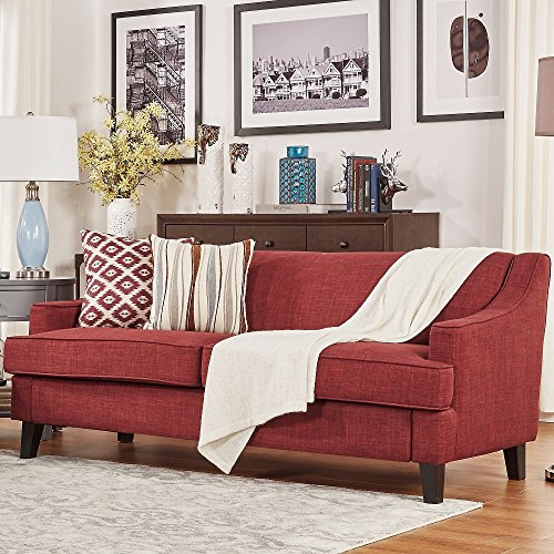 Inspire Q Winslow Linen Fabric Modern Sofa Concave Arm Living Room Tawny Port Red Linen