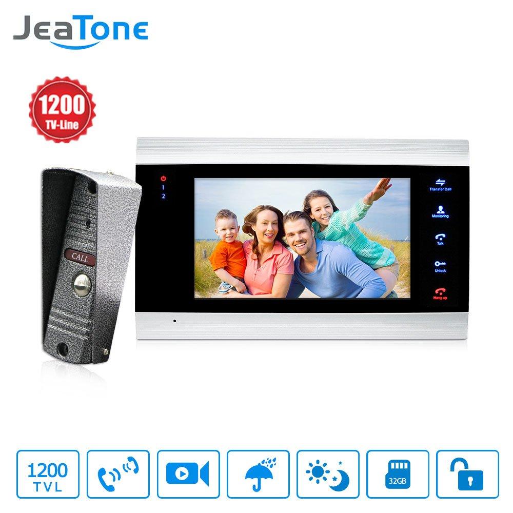 JeaTone New 7 inch Video Doorbell Monitor Intercom With 1200TVL Outdoor Camera IP65 Door Phone Intercom System 1V1