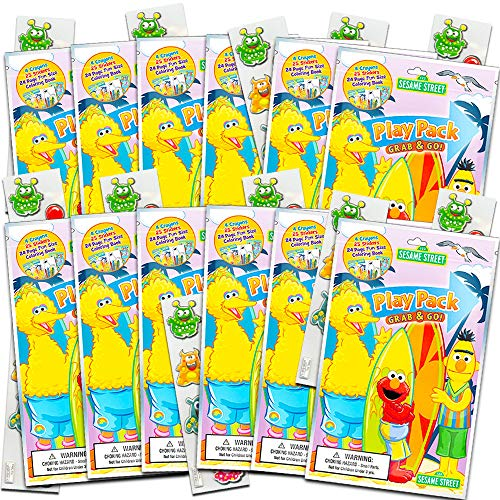 Sesame Street Ultimate Party Favors for Toddlers Kids Bundle -- 12 Sets with Stickers, Coloring Books, Crayons, and Bonus Stickers (Party Supplies)]()